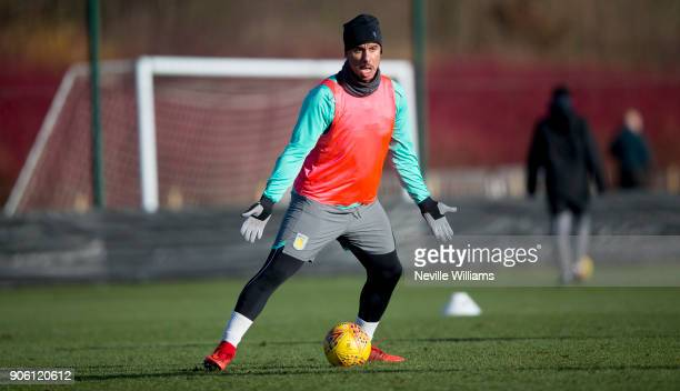 Gabriel Agbonlahor of Aston Villa in action during a Aston Villa training session at the club's training ground at Bodymoor Heath on January 17 2018...