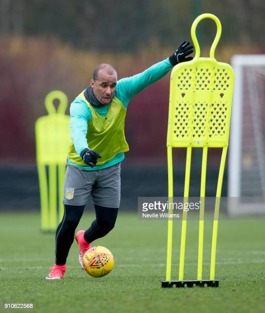 Gabriel Agbonlahor of Aston Villa in action during a Aston Villa training session at the club's training ground at Bodymoor Heath on January 26 2018...