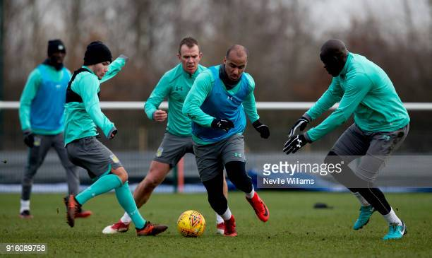 Gabriel Agbonlahor of Aston Villa in action during a Aston Villa training session at the club's training ground at Bodymoor Heath on February 06 2018...
