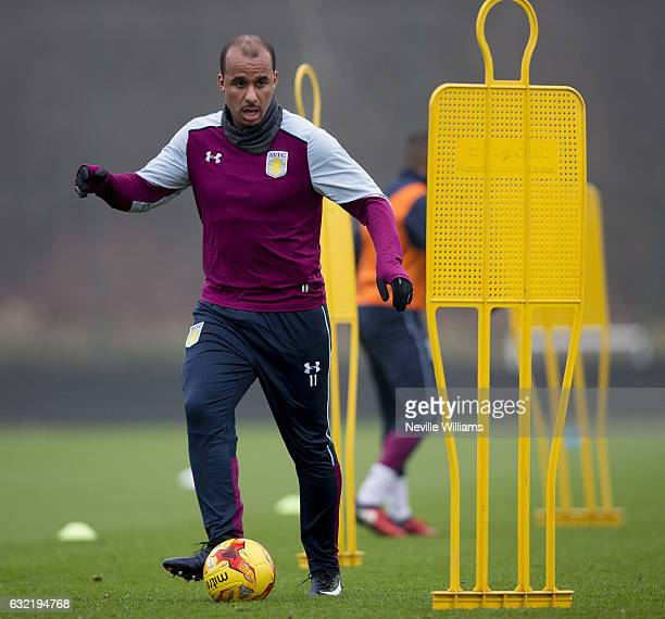 Gabriel Agbonlahor of Aston Villa in action during a training session at the club's training ground at Bodymoor Heath on January 20 2017 in...