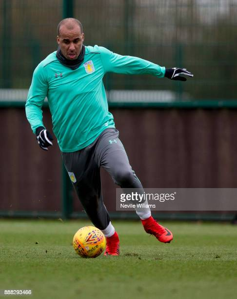 Gabriel Agbonlahor of Aston Villa in action during a training session at the club's training ground at Bodymoor Heath on December 08 2017 in...