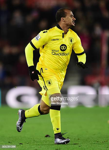 Gabriel Agbonlahor of Aston Villa in action during the Barclays Premier League match between Southampton and Aston Villa at St Mary's Stadium on...