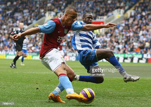Gabriel Agbonlahor of Aston Villa in action during the Barclays Premier League match between Reading and Aston Villa at the Madejski Stadium on...