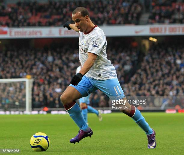 Gabriel Agbonlahor of Aston Villa in action during the FA Cup 4th Round match between Arsenal and Aston Villa on January 29 2012 in London England