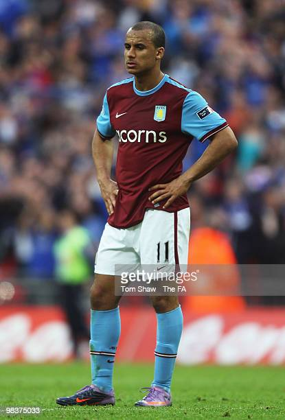 Gabriel Agbonlahor of Aston Villa is dejected after losing the FA Cup sponsored by E.ON Semi Final match between Aston Villa and Chelsea at Wembley...