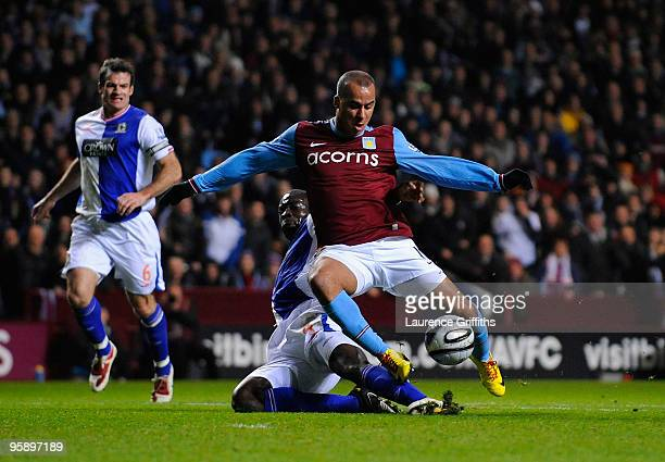 Gabriel Agbonlahor of Aston Villa is fouled for a penalty by Christopher Samba of Blackburn Rovers during the Carling Cup Semi Final 2nd Leg match...