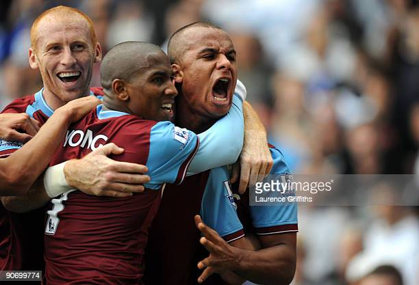Gabriel Agbonlahor of Aston Villa is mobbed after scoring during the Barclays Premier League match between Birmingham City and Aston Villa at St...