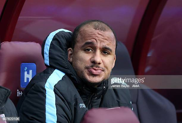 Gabriel Agbonlahor of Aston Villa on the bench prior to the Emirates FA Cup match between Aston Villa and Manchester City at Villa Park on January 30...