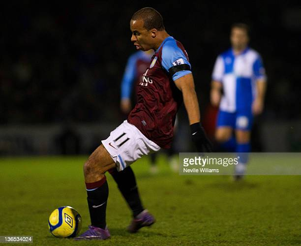 Gabriel Agbonlahor of Aston Villa scores a goal during the FA Cup Third Round match between Bristol Rovers and Aston Villa at Memorial Stadium on...