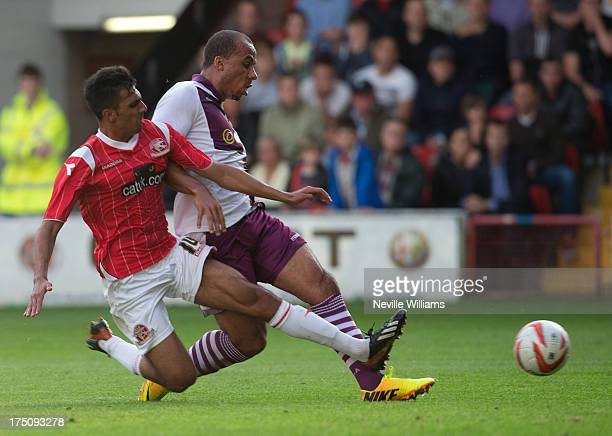 Gabriel Agbonlahor of Aston Villa scores a goal during the Pre Season Friendly match between Walsall and Aston Villa at Banks' Stadium on July 31...