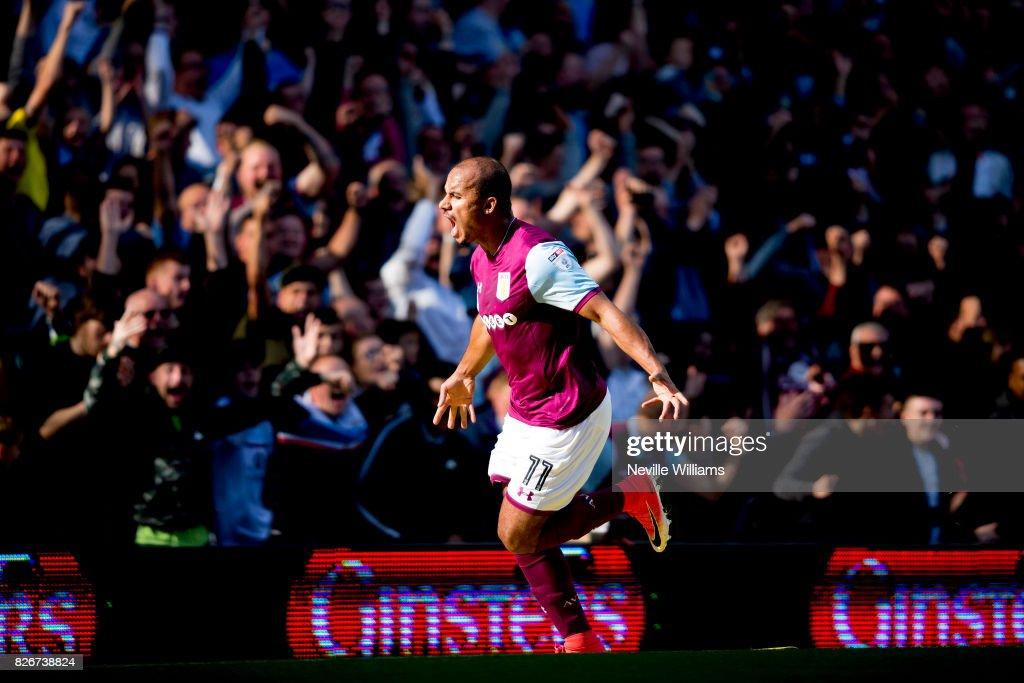 Gabriel Agbonlahor of Aston Villa scores for Aston Villa during the Sky Bet Championship match between Aston Villa and Hull City at Villa Park on August 05, 2017 in Birmingham, England.