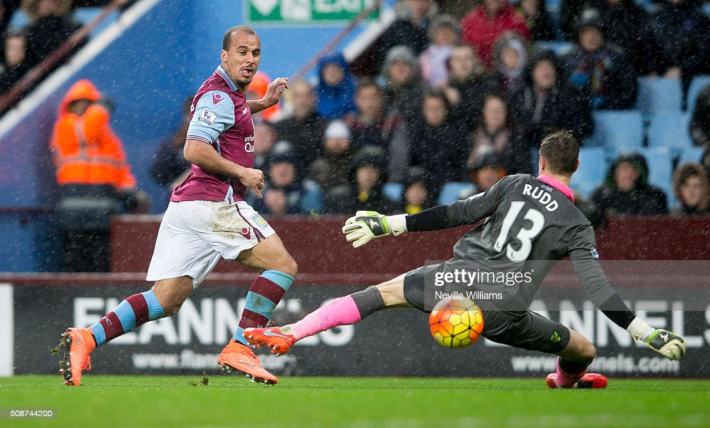 Gabriel Agbonlahor of Aston Villa scores his goal for Aston Villa during the Barclays Premier League match between Aston Villa and Norwich City at Villa Park on February 06, 2016 in Birmingham, England.