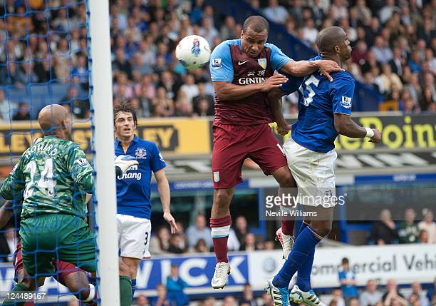 Gabriel Agbonlahor of Aston Villa scores his team's equalising goal during the Barclays Premier League match between Everton and Aston Villa at...
