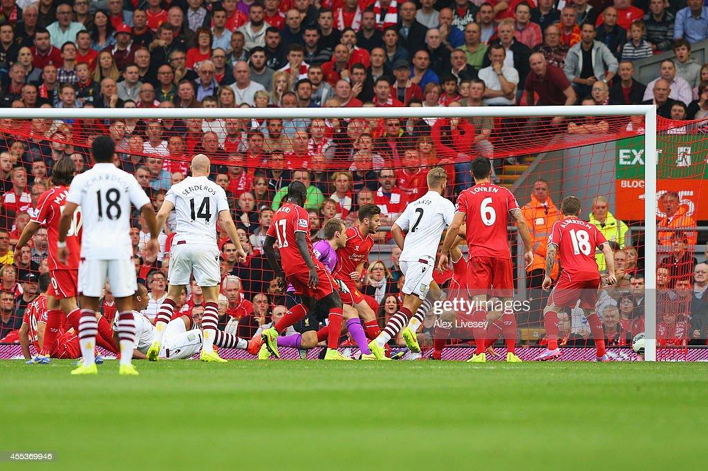 Gabriel Agbonlahor of Aston Villa scores the opening goal ...