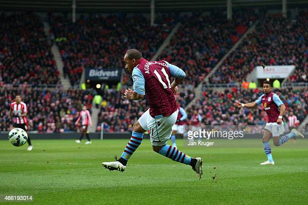 Gabriel Agbonlahor of Aston Villa scores their second goal during the Barclays Premier League match between Sunderland and Aston Villa at Stadium of...