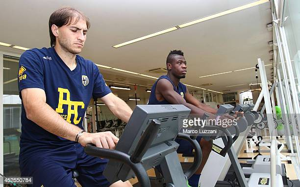 Gabriel Alejandro Paletta and Afriyie Acquah of FC Parma train in the gym during FC Parma Training Session at the club's training ground on July 23,...