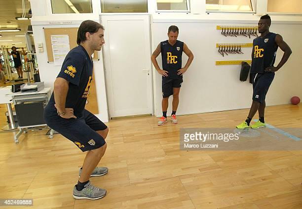 Gabriel Alejandro Paletta, Antonio Cassano and Afriyie Acquah of FC Parma train in the gym during FC Parma Training Session at the club's training...