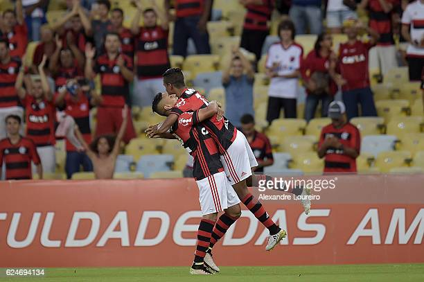 Gabriel and Everton of Flamengo celebrates a scored goal by Gabriel during the match between Flamengo and Coritiba as part of Brasileirao Series A...