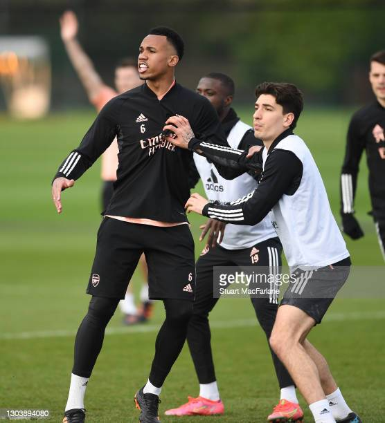 Gabriel and Hector Bellerin of Arsenal during a training session at London Colney on February 24, 2021 in St Albans, England.