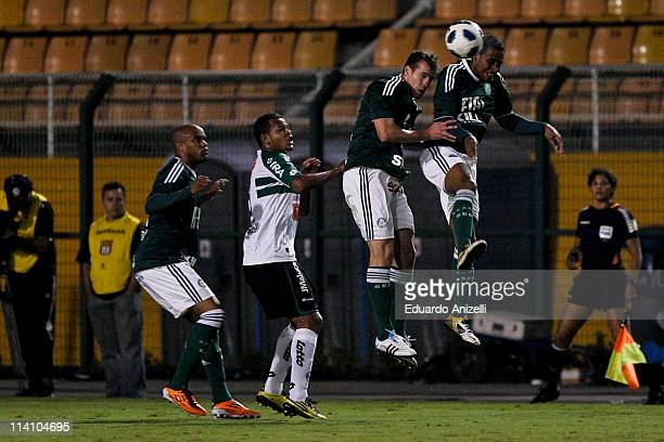 Gabriel and Thiago Heleno Palmeiras in action during a match against Coritiba, as part of Brazil Cup 2011 at Pacaembu stadium on May 11 in Sao Paulo,...