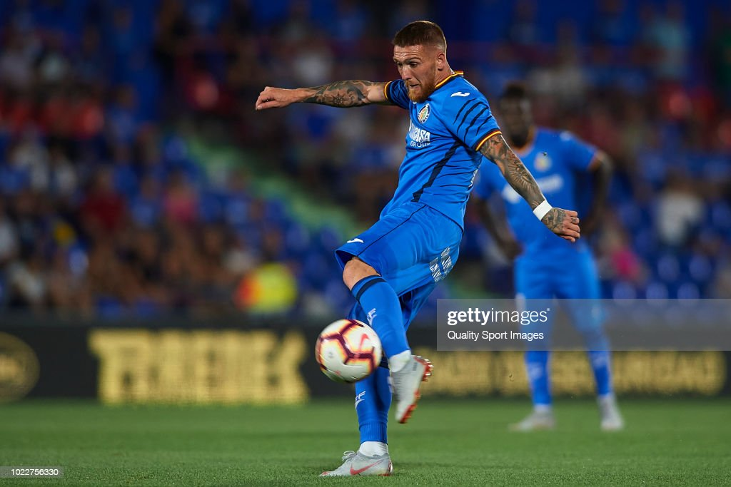 Gabriel Antunes of Getafe CF shoots the ball during the La Liga match between Getafe CF and SD Eibar at Coliseum Alfonso Perez on August 24, 2018 in Getafe, Spain.