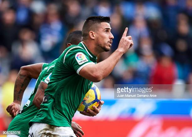 Gabriel Appelt of Club Deportivo Leganes celebrates after scoring his team's first goal during the La Liga match between Deportivo Alaves and Club...
