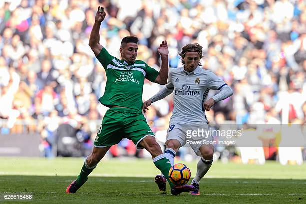 Gabriel Appelt Pires of Deportivo Leganes fights for the ball with Luka Modric of Real Madrid during their La Liga match between Real Madrid and...