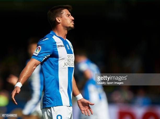 Gabriel Appelt Pires of Leganes reacts during the La Liga match between Villarreal CF and CD Leganes at Estadio de la Ceramica on April 22 2017 in...