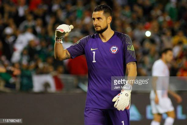 Gabriel Arias Goalkeeper of Chile lament uring an international friendly match between Chile and Mexico at Qualcomm Stadium on March 22 2019 in San...