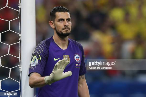 Gabriel Arias of Chile gestures during the Copa America Brazil 2019 quarterfinal match between Colombia and Chile at Arena Corinthians on June 28...
