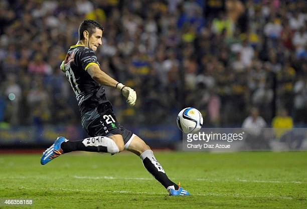 Gabriel Arias of Defensa y Justicia kicks off the ball during a match between Boca Juniors and Defensa y Justicia as part of round 5 of Torneo...