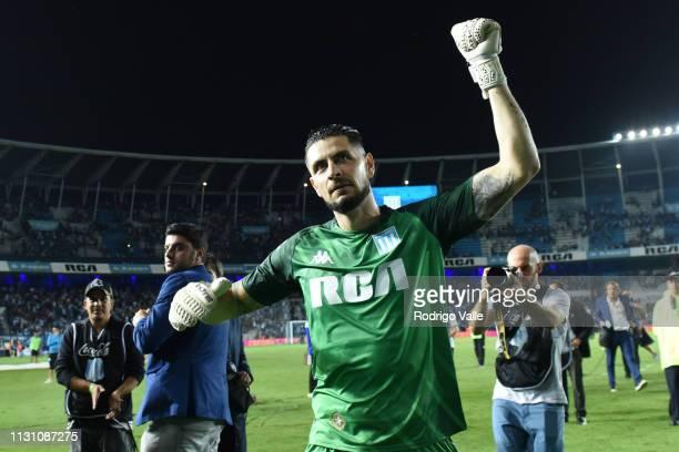 Gabriel Arias of Racing Club celebrates after winning a match between Racing Club and Belgrano as part of Superliga 2018/19 at Juan Domingo Peron...
