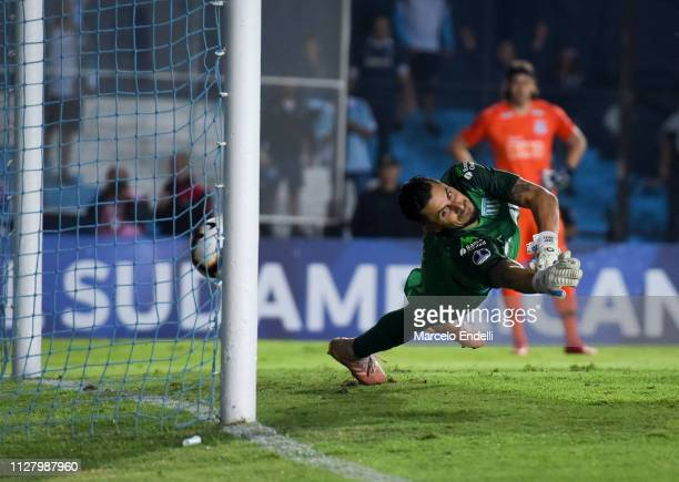 Gabriel Arias of Racing Club fails to make a save in a penalty shootout during a match between Racing Club and Corinthians as part of Copa CONMEBOL...
