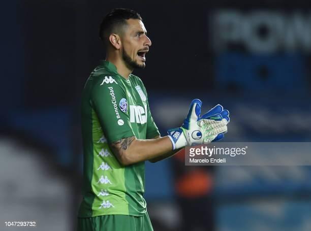 Gabriel Arias of Racing Club gestures during a match between Racing Club and Boca Juniors as part of Superliga 2018/19 at Estadio Juan Domingo Peron...