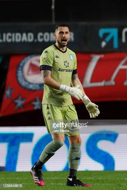 Gabriel Arias of Racing Club reacts during a match between Argentinos Juniors and Racing Club as part of Torneo Liga Profesional 2021 at Diego...