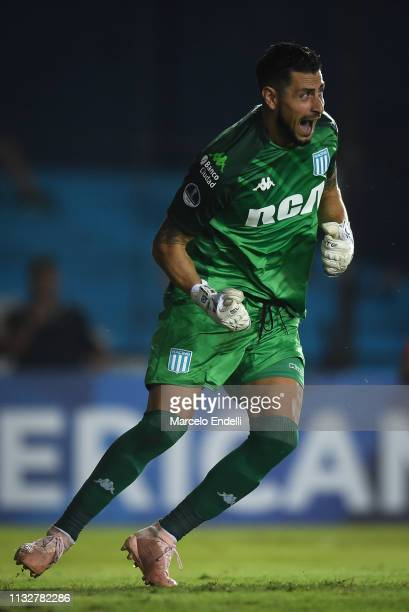 Gabriel Arias of Racing Club reacts in a penalty shootout during a match between Racing Club and Corinthians as part of Copa CONMEBOL Sudamericana at...