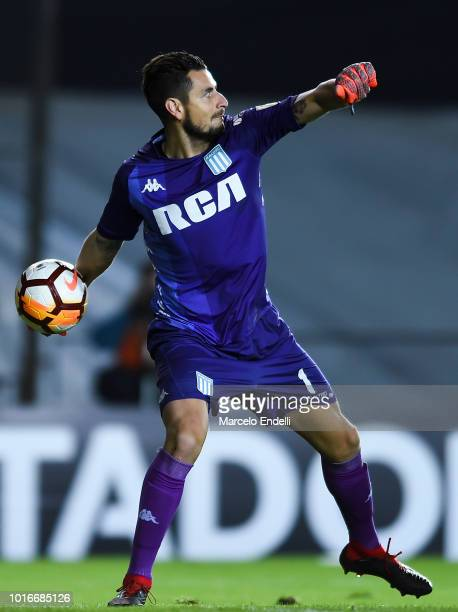Gabriel Arias of Racing Club throws the ball during a round of sixteen first leg match between River Plate and Racing Club as part of Copa CONMEBOL...