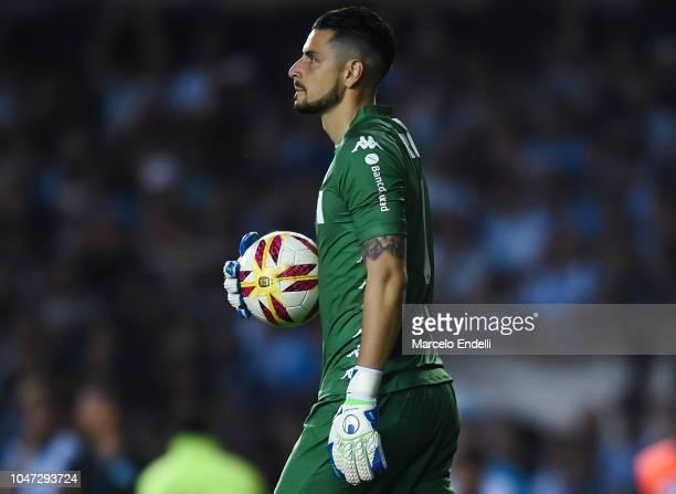 Gabriel Arias of Racing Club with the ball during a match between Racing Club and Boca Juniors as part of Superliga 2018/19 at Estadio Juan Domingo...