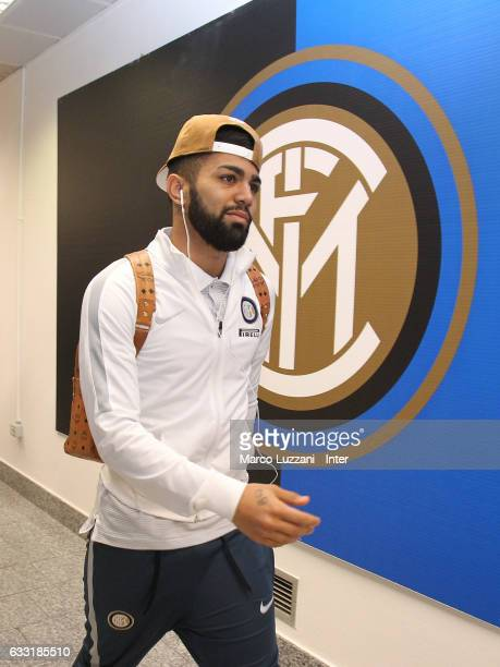Gabriel Barbosa Almeida of FC Internazionale arrives prior to the TIM Cup match between FC Internazionale and SS Lazio at Stadio Giuseppe Meazza on...