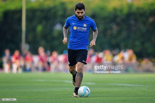 Gabriel Barbosa Almeida of FC Internazionale runs with the ball during an official ICC Singapore Training Session at Bishan Stadium on July 28 2017...