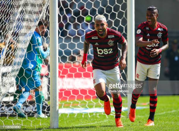 Gabriel Barbosa and Bruno Henrique of Flamengo celebrate a scored goal during a match between Flamengo and Goias as part of Brasileirao Series A 2019...