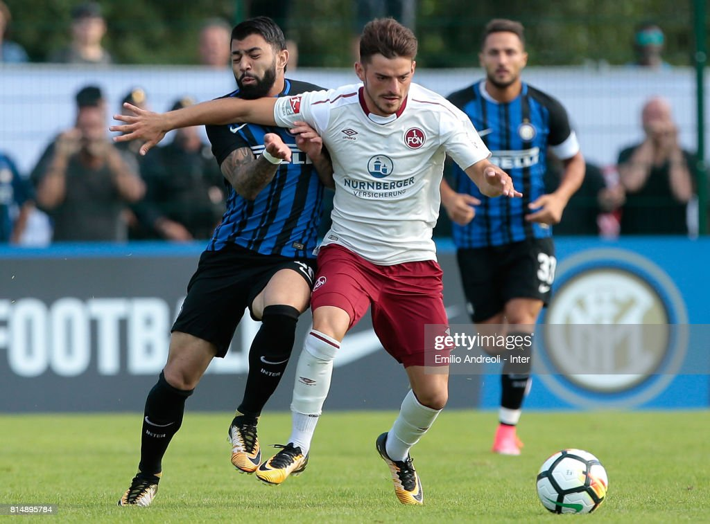 Gabriel Barbosa Gabigol of FC Internazionale Milano (L) competes for the ball during the Pre-Season Friendly match between FC Internazionale and Nurnberg on July 15, 2017 in Bruneck, Italy.