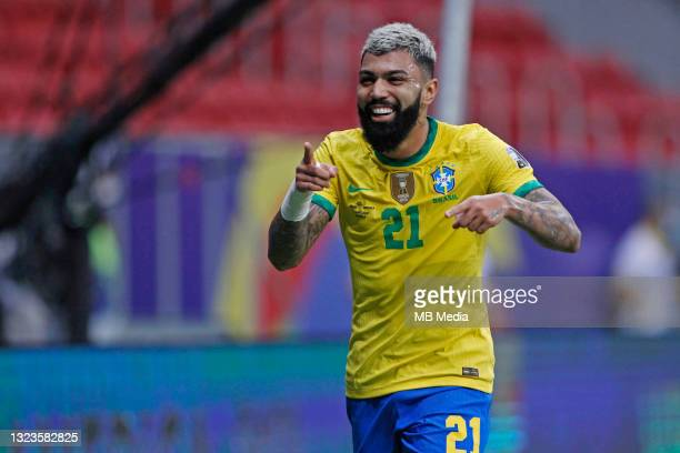 Gabriel Barbosa of Brazil celebrates after scoring a goal during the match between Brazil and Venezuela as part of Conmebol Copa America Brazil 2021...