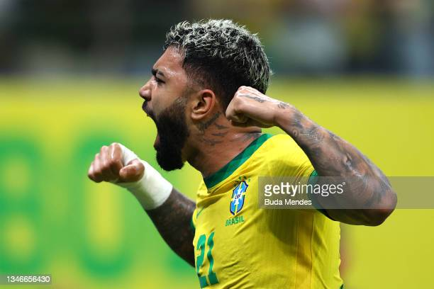 Gabriel Barbosa of Brazil celebrates after scoring the fourth goal of his team during a match between Brazil and Uruguay as part of South American...