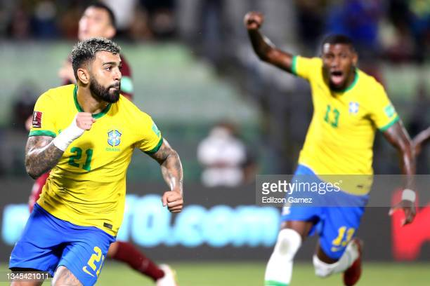 Gabriel Barbosa of Brazil celebrates after scoring the second goal of his team during a match between Venezuela and Brazil as part of South American...