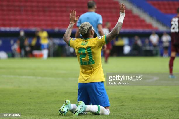 Gabriel Barbosa of Brazil celebrates after scoring the third goal of his team during a Group B match between Brazil and Venezuela as part of Copa...