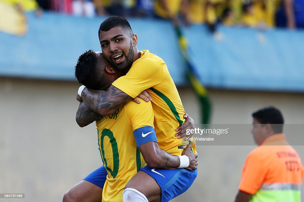Gabriel Barbosa #9 of Brazil celebrates scoring his team's first goal during the international friendly match between Japan and Brazil at the Estadio Serra Dourada on July 30, 2016 in Goiania, Brazil.