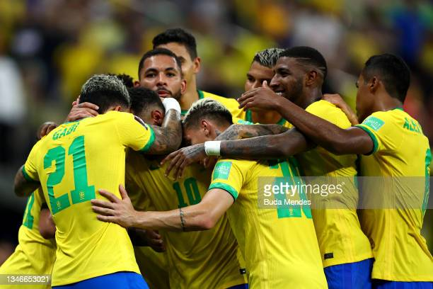 Gabriel Barbosa of Brazil celebrates with teammates after scoring the fourth goal of his teamduring a match between Brazil and Uruguay as part of...