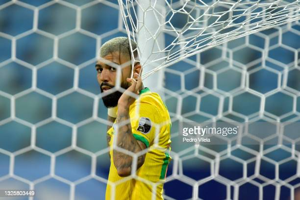 Gabriel Barbosa of Brazil looks on during a group B match between Brazil and Ecuador as part of Copa America Brazil 2021 at Estadio Olimpico on June...