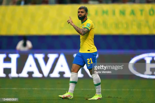 Gabriel Barbosa of Brazil reacts after scoring the fourth goal of his team during a match between Brazil and Uruguay as part of South American...